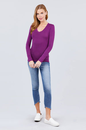 Cotton Jersey V-neck Top Knitted Belle Boutique
