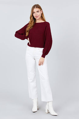 Dolman Sleeve Boat Neck Sweater - Burgundy Knitted Belle Boutique