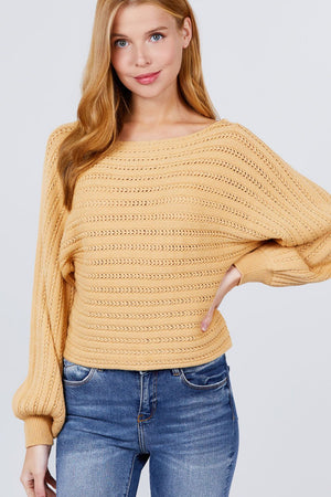 Dolman Sleeve Boat Neck Sweater - Yellow Knitted Belle Boutique