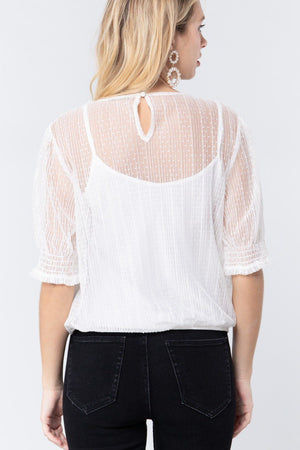 Elbow Slv Dot Mesh Top W/inner Cami Knitted Belle Boutique