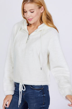Faux Fur Hoodie - Ivory Knitted Belle Boutique