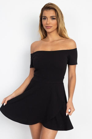 Fit & Flare Off Shoulder Romper Knitted Belle Boutique