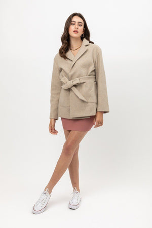 Fleece Belted Coat - Taupe Knitted Belle Boutique