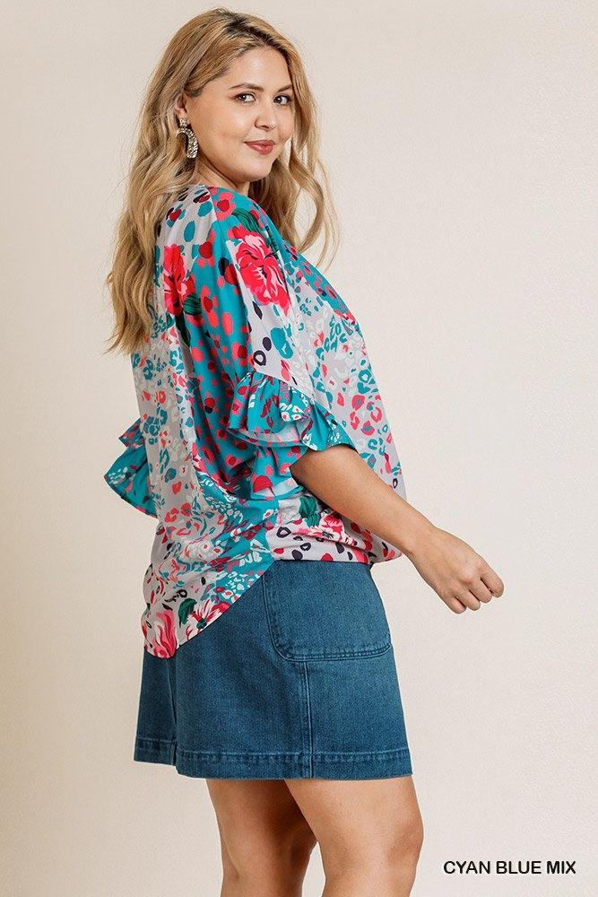 Floral Animal Mixed Print Ruffle Sleeve V-neck Crossbody Top With Scoop Hem Knitted Belle Boutique