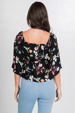 Floral Print Crop Top Knitted Belle Boutique