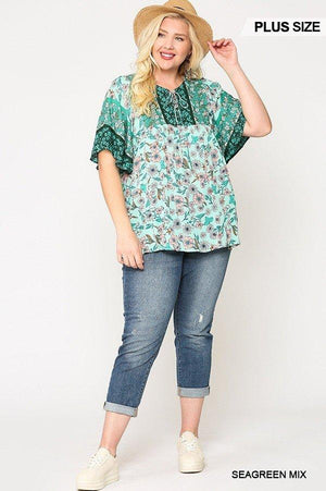 Floral Print Lace Up Flutter Sleeve Top Knitted Belle Boutique