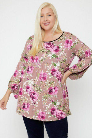 Floral Print Tunic - Pink - Curvy Knitted Belle Boutique