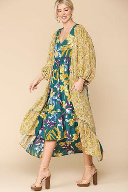 Floral Print V-neck Side Pocket Ruffled Dress Knitted Belle Boutique