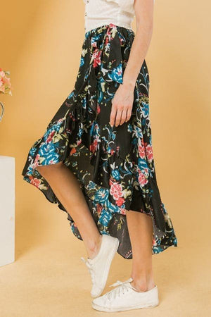 Floral Ruffle Skirt With Trim High Low. Knitted Belle Boutique