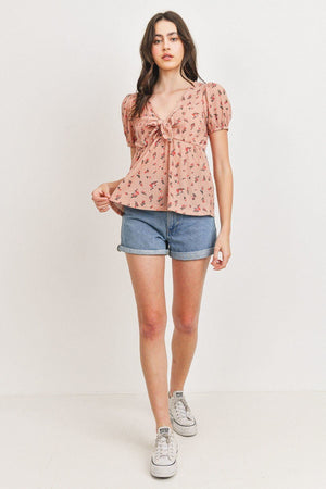 Front Tie Floral Waffle Top Knitted Belle Boutique