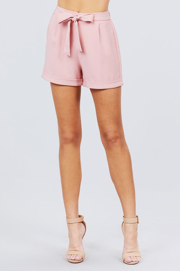 Front Tie W/elastic Band Short Pants Knitted Belle Boutique