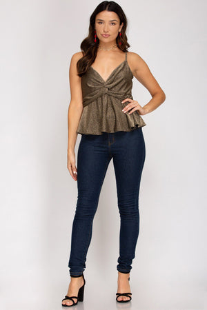 Front Twist Cami Top - Gold Tops She and Sky