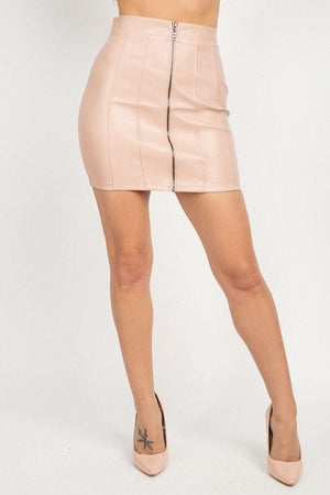 Front Zip Tulip Mini Skirt Knitted Belle Boutique