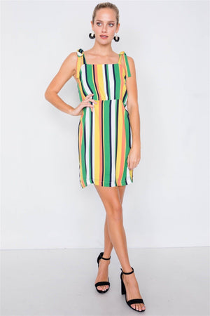 Green Vintage Multi Stripe Shift Chic Casual Colorblock Mini Dress Knitted Belle Boutique
