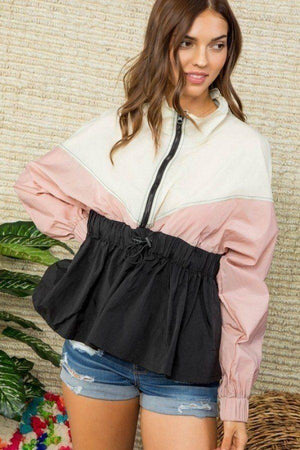 High Neck Zipper Waist Elastic Long Sleeve Bottom Ruffle Color Block Windbreaker Knitted Belle Boutique