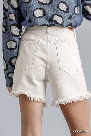 High Rise Denim Shorts With Raw Hem Knitted Belle Boutique