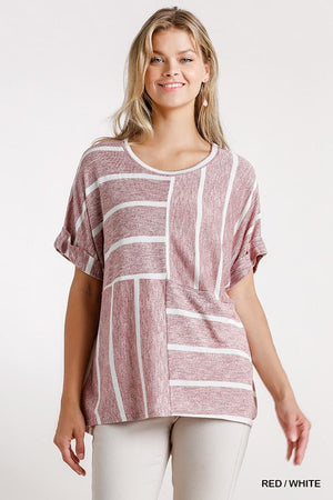 Horizontal And Vertical Striped Short Folded Sleeve Top With High Low Hem Knitted Belle Boutique