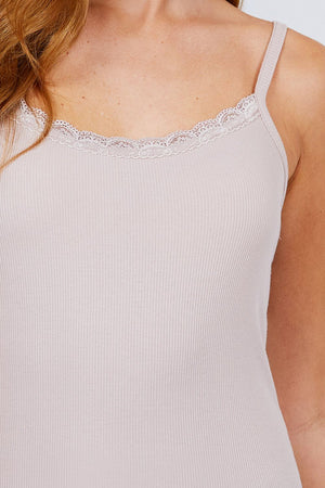 Lace Trim Rib Cami Knit Top Knitted Belle Boutique