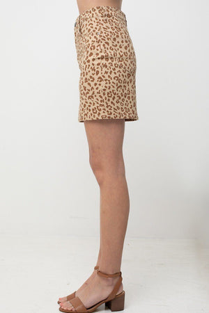 Leopard Printed Cotton Span Mini Skirt Knitted Belle Boutique