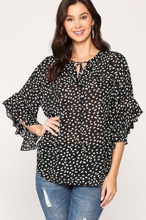 Leopard Printed Crepe Top Knitted Belle Boutique