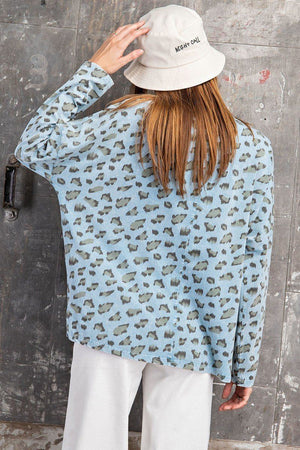 Leopard Printed Garment Dye Loose Fit Knit Top Knitted Belle Boutique