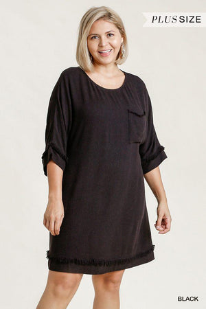 Linen Blend Round Neck Half Sleeve Dress With Chest Pocket And Frayed Edge Detail Knitted Belle Boutique
