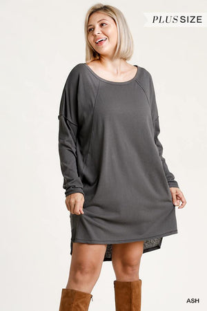 Long Raglan Sleeve Round Neck Raw Edged Detail Dress With Side Slits And Pockets Knitted Belle Boutique