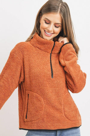 Long Sleeve Half Zipper Pullover Loopie Terry Knitted Belle Boutique