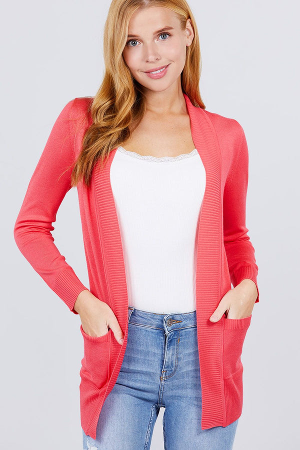 Long Sleeve Rib Banded Open Sweater Cardigan W/pockets Knitted Belle Boutique