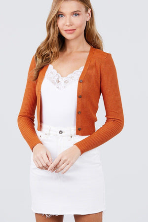 Long Sleeve V-neck W/button Down Crop Cardigan Knitted Belle Boutique
