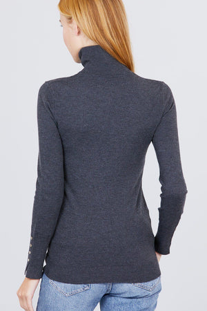 Long Sleeve With Metal Button Detail Turtle Neck Viscose Sweater Knitted Belle Boutique