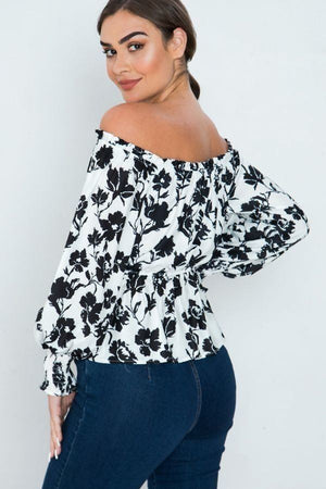 Long Sleeves Off Shoulder Neckline Printed Shirt Knitted Belle Boutique