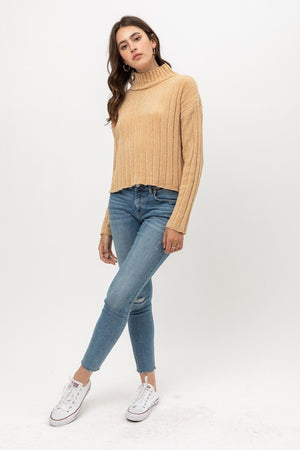 Mini Velvet Chenille Crop Sweater Knitted Belle Boutique