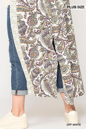 Mix-printed Open Front Kimono With Side Slits Knitted Belle Boutique