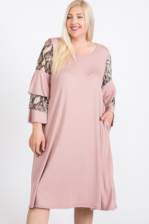 Mixed Ruffle Sleeve With Hidden Pocket A Line Dress Knitted Belle Boutique