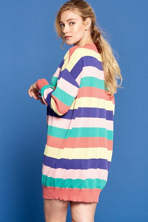 Multi-colored Striped Knit Sweater Dress Knitted Belle Boutique