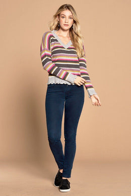Multi-colored Variegated Striped Knit Sweater Knitted Belle Boutique