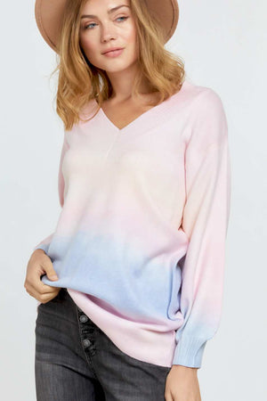 Multi Sherbet Tie Dye Color V Neck Sweater Knitted Belle Boutique