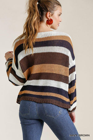 Multicolored Stripe Round Neck Long Sleeve Knit Sweater Knitted Belle Boutique
