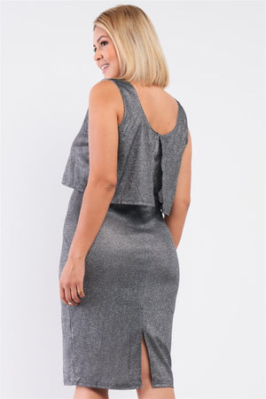 Night Sky Shimmer Sleeveless Layered Dress Knitted Belle Boutique