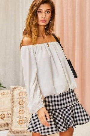 Off Shoulder Long Bubble Sleeve Solid Top Knitted Belle Boutique