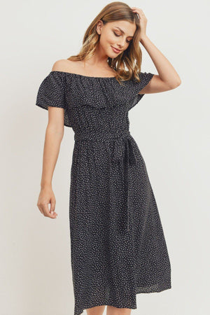Off The Shoulder Waist Belt With Printed Midi Dress Knitted Belle Boutique