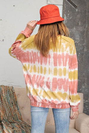 Ombre Dye Terry Knit Banded Bottom Pullover Knitted Belle Boutique