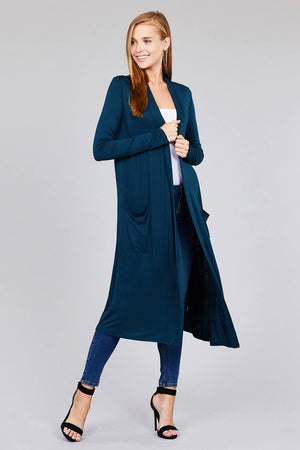Open Front Long Cardigan Knitted Belle Boutique