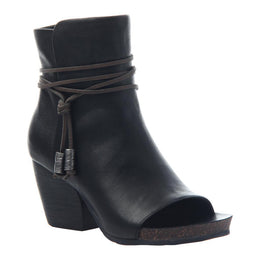 OTBT - VAGABOND in BLACK LEATHER Open Toe Booties WOMEN FOOTWEAR OTBT
