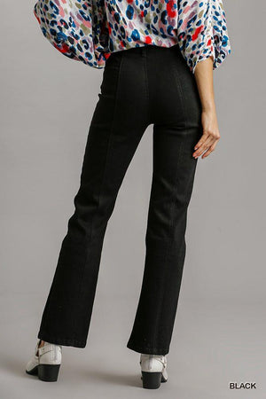 Panel Straight Cut Denim Jeans With Pockets Knitted Belle Boutique