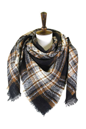 Plaid Square Blanket Scarf Knitted Belle Boutique