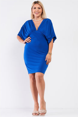 Plus Royal Blue Ruched Short Sleeve V-neck Empire Waist Mini Dress Knitted Belle Boutique