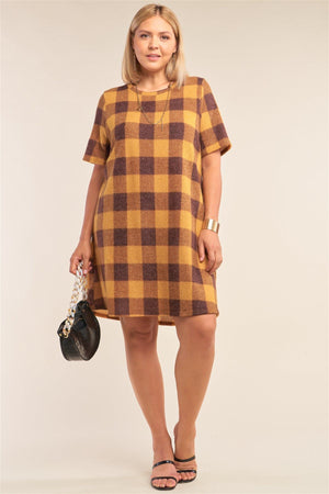 Plus Size Checkered Round Neck Short Sleeve Sweater Mini Dress Knitted Belle Boutique
