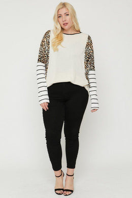 Plus Size Cheetah Print Long Sleeve Top Knitted Belle Boutique